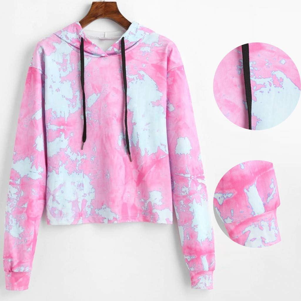 Womens Teen Girls Cute Pastel Sweatshirt Pullover Crop Top Crewneck Hooded Outfit SamojoyHUE Tie Dye Cropped Hoodie