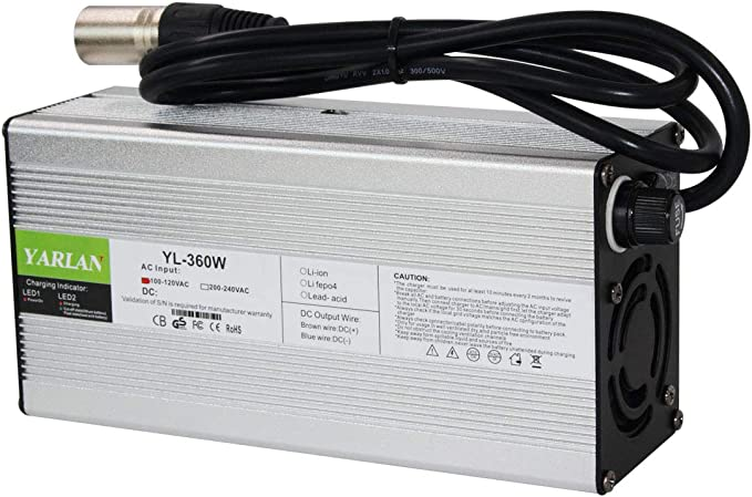 Charger 13S Li-ion 54,6V for 48V Li-ion Batteries Round Connectors 3A 165W modiary