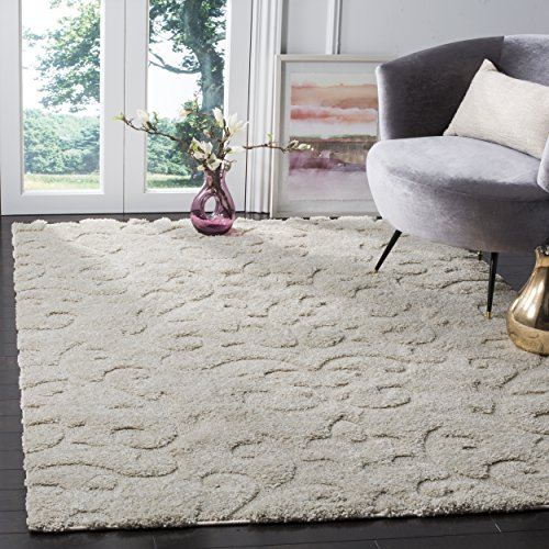 Safavieh Florida Shag Collection SG470-1111 Creme and Creme Area Rug (4' x 6')