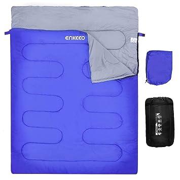 ENKEEO Saco de Dormir Rectangular para 2 Personas, Ligero Impermeable Compacto para Camping Todo el Año: Amazon.es: Deportes y aire libre