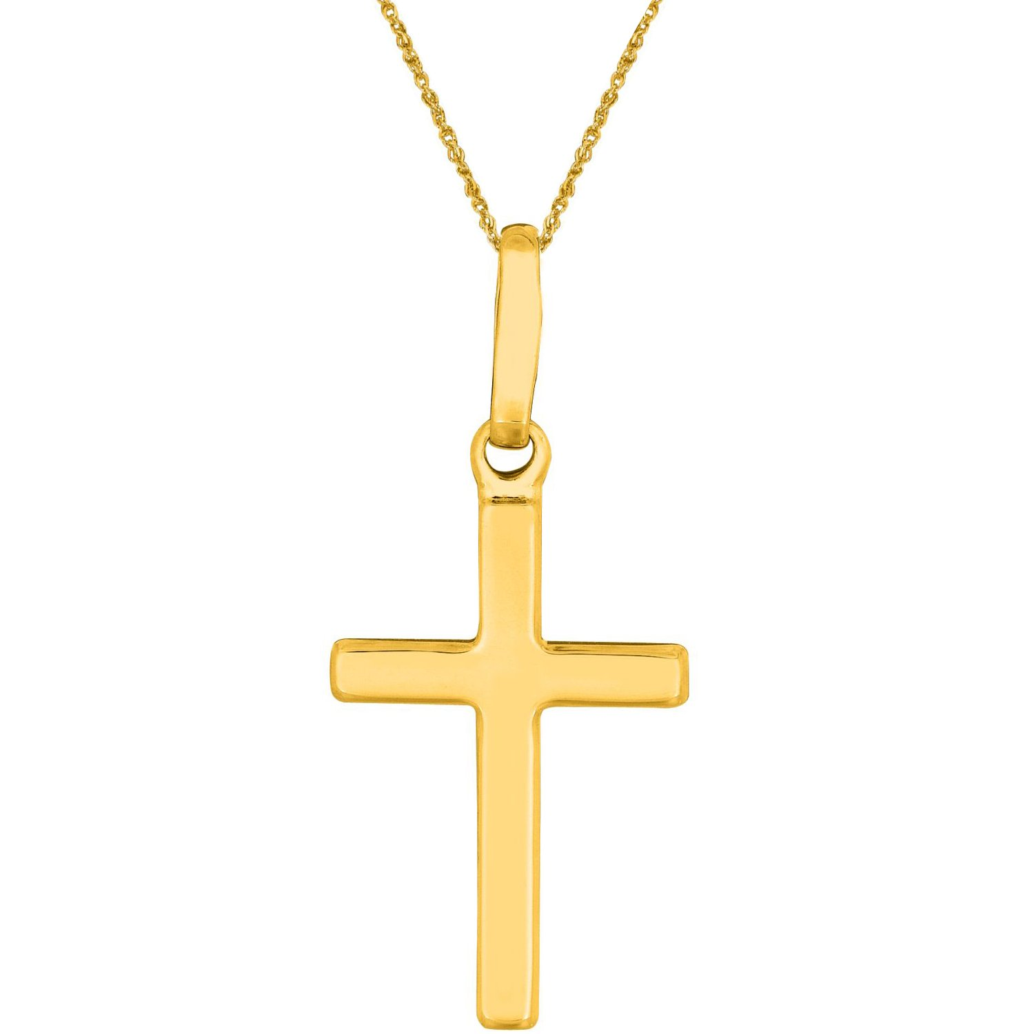 14K Real Yellow Gold Cross Charm Baby Children Necklace 16 Inches