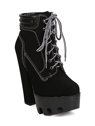 deb815371e8 Women Nubuck Lace Up Lug Sole Platform Block Heel Bootie GC93