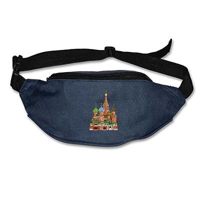 Unisex Pockets Moscow Illustrations Fanny Pack Waist / Bum Bag Adjustable Belt Bags Running Cycling Fishing Sport Waist Bags Black