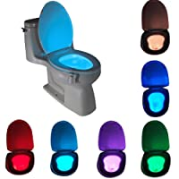 Toilet Light, Waterproof Adjustable 8 Changing Color LED Toilet Bowl Seat Night Light with Human Body Auto Motion Sensor Activated Detection Lamp for Home Bathroom Kids Children Midnight Potty Training
