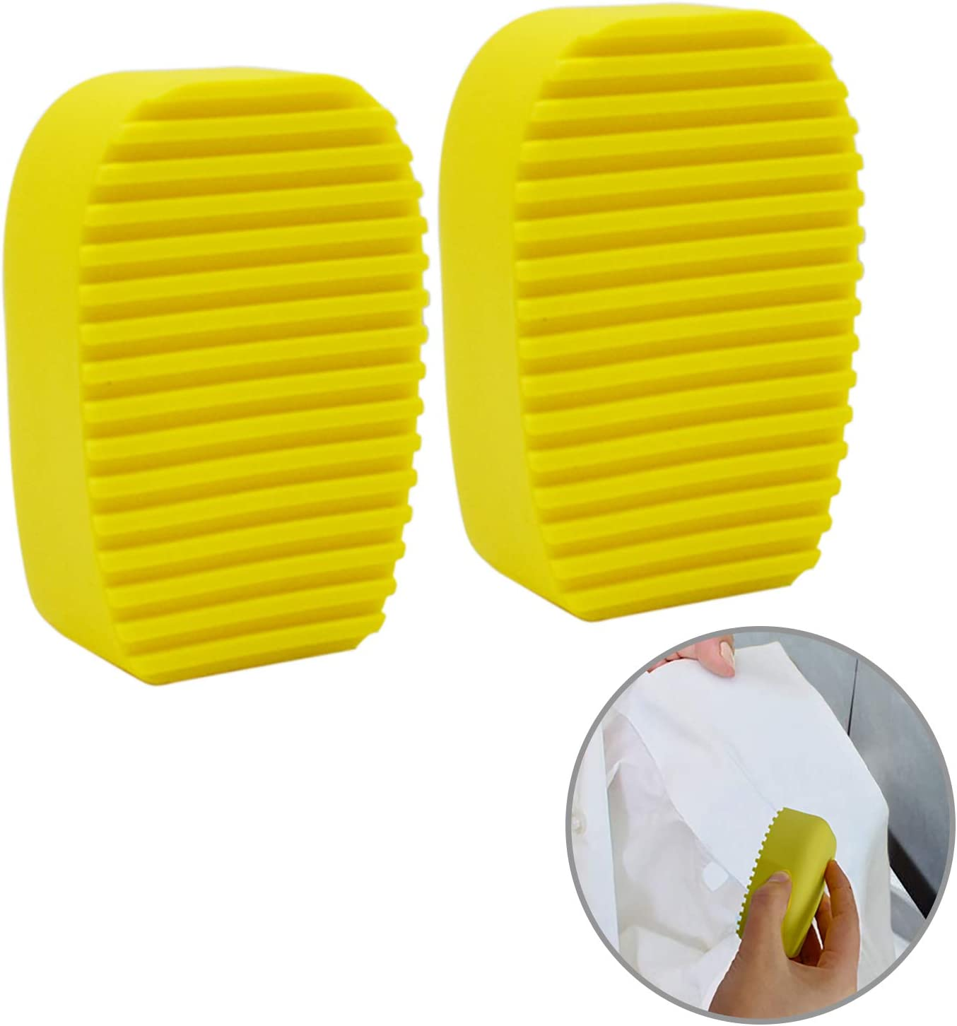 LiXiongBao 2 Pack Silicone Washboard Creative Mini Antiskid Handheld Laundry Brush Scruber Washboard Candy Color Yellow Wash Clothes Collar Furniture Stain Removal