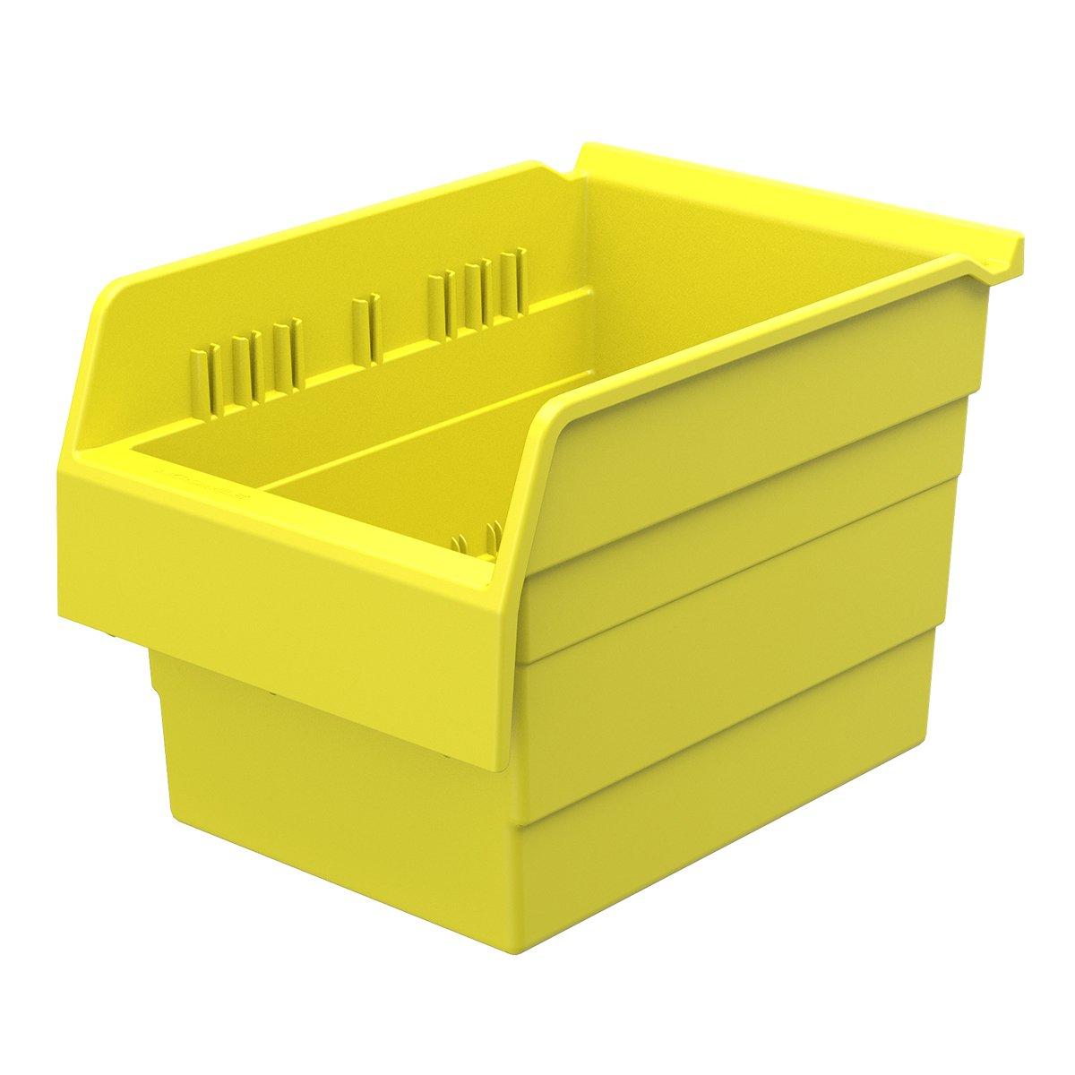 Akro-Mils 30880 ShelfMax 8 Plastic Nesting Shelf Bin Box, 12-Inch x 8-Inch x 8-Inch, Yellow, 8-Pack