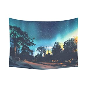 Interestprint Night Sky Aurora Borealis Forest Tapestry Wall Hanging Starry Night Aurora Borealis Wall Decor Art for Living Room Bedroom Dorm Cotton Linen Decoration 80 X 60 Inches