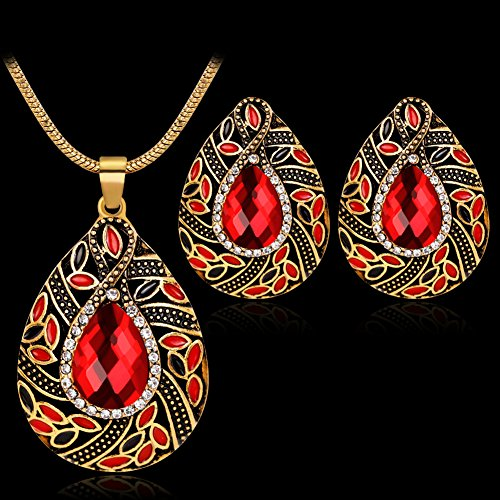 Jewelry Set Opeof Retro Rhinestone Water Drop Pendant Necklace Earrings Women Wedding Jewelry Set - Multicolor ()