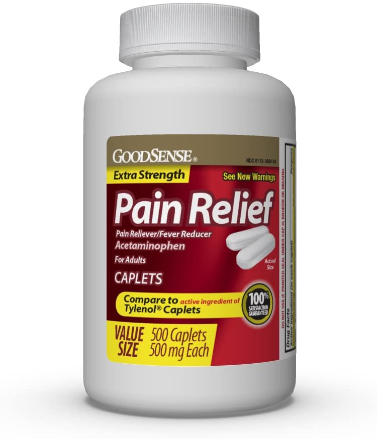 GoodSense Extra Strength Pain Relief, Acetaminophen Caplets, 500 mg, Temporarily Relieves Minor Aches and Pains and Reduces Fever, 500 Count: Health & Personal Care