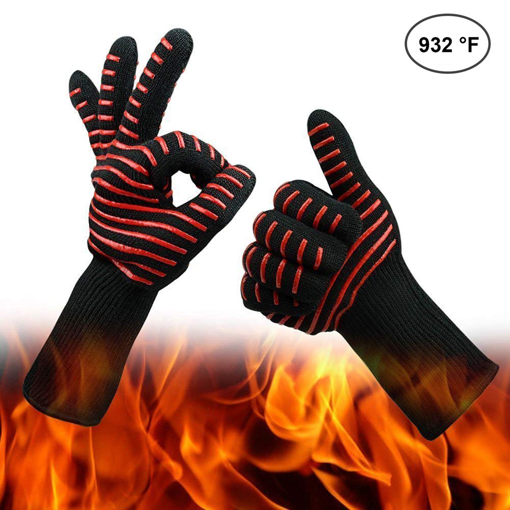 Heat Resistant Grill Gloves -932°F(500℃) BBQ Cooking Gloves Oven Mitts for Grilling, Frying & Baking Kitchen Safe Handling of Pots and Pans- Fireplace/Stove/Potholders (Red Stripes)