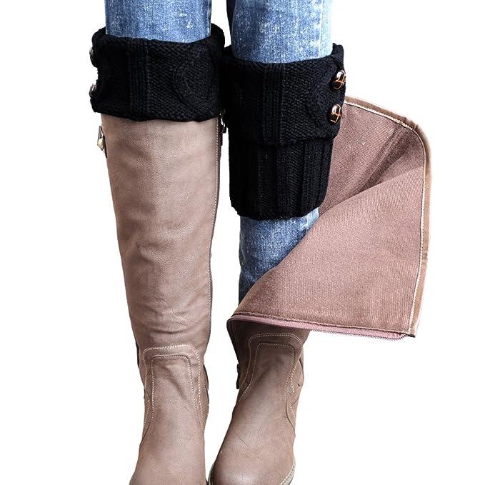 Faybox Winter Leg Warmer Crochet Knit Boot Socks Button Black At
