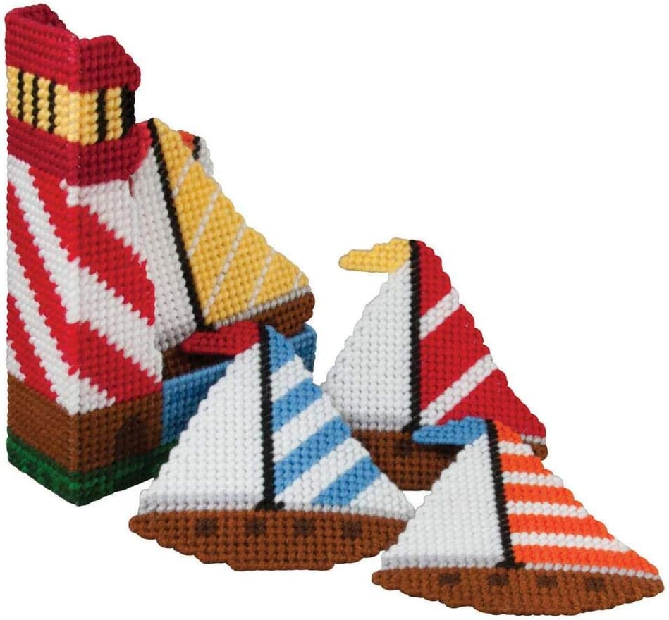 Herrschners Summer Sailing Coasters with Holder Plastic Canvas Kit