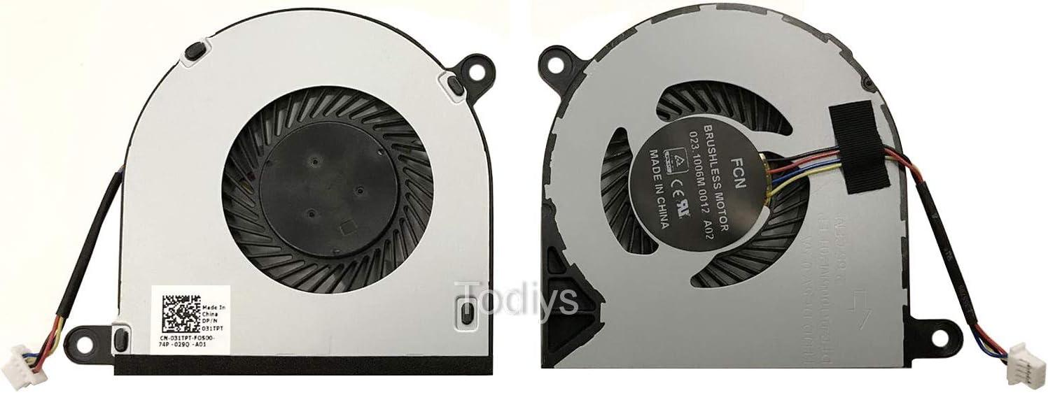 "Todiys CPU Cooling Fan for Dell Inspiron 13 13.3"" 5368 5378 5379 7375 7368 7378 P69G 15 15.6"" 5568 5578 7569 7579 P58F 31TPT 031TPT CN-031TPT 023.1006M.0012 DFB451005M20TEP"