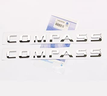 Yoaoo 2x OEM Pair Chrome COMPASS Altitude Emblems Letter Alloy Nameplate Emblems COMPASS Badges New 08-15 1 Set Glossy