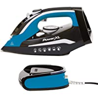 PowerXL Cordless Iron and Steamer, Iron with Ceramic Soleplate, Vertical Steam, Anti-Calc, Anti-Drip, Auto-Off, Power Base (Blue)