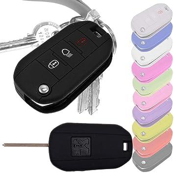 Key Soft Case Cover Llave Plegable de protección Peugeot Clincher 208 308 5008 2008 Citroen C3 C4 Spacetourer Llave Plegable/Color: Negro