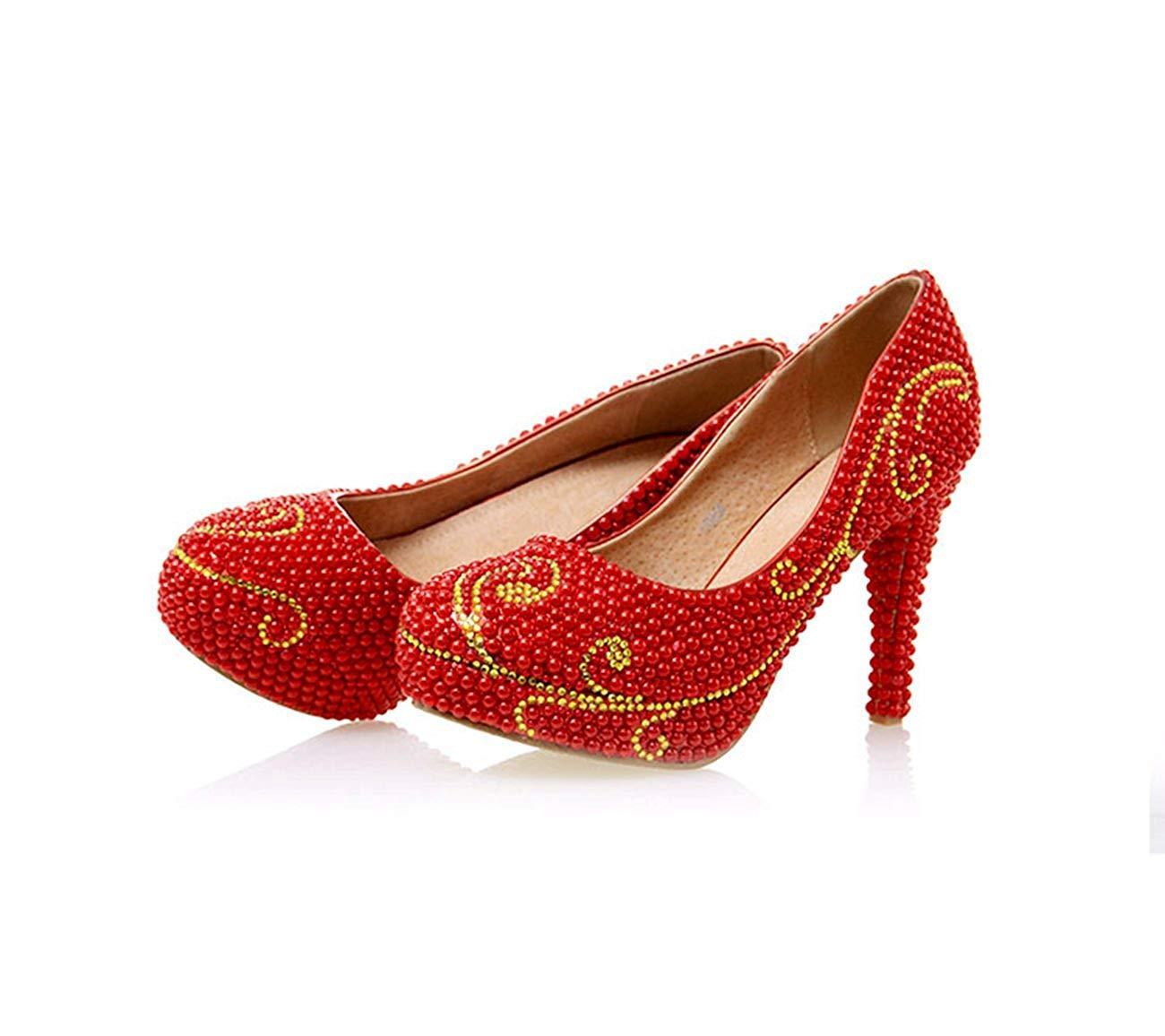 ZHRUI Damen Perle Perle Perle Perlen 4 Heel rot Wedding Performance Pumps Schuhe UK 3 (Farbe   -, Größe   -) e561a5