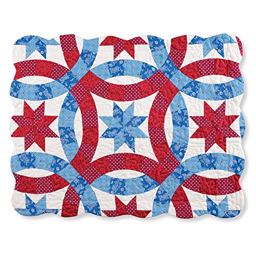 Collections Etc Americana Star Wedding Ring Pattern Pillow Sham ()