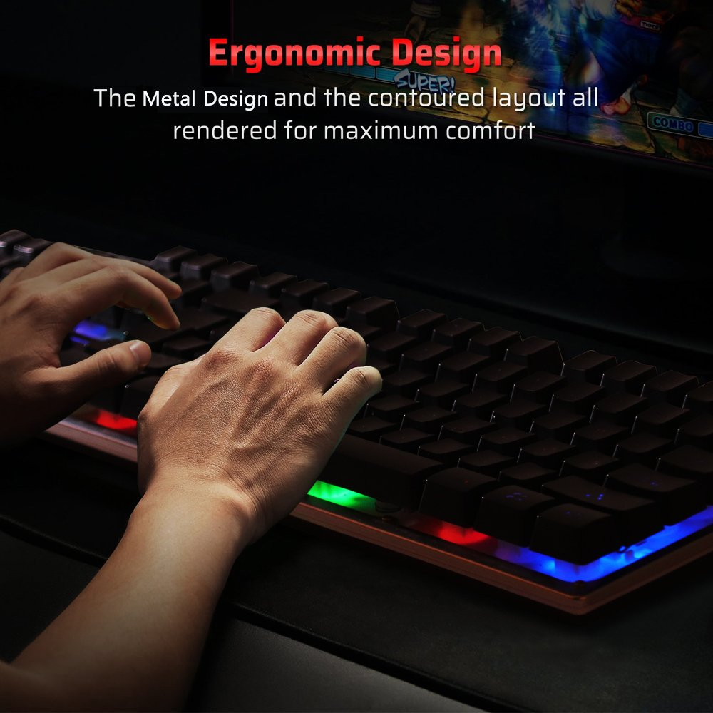Backlit LED Wired Gaming Keyboard, Mechanical Feeling USB Keyboard with Backlight Rainbow RGB Multicolor Water-Resistant Adjustable Illuminated Computer Keyboard for PC Games Office (K2 Black) by WYJP (Image #7)