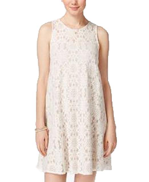 96c687ee4 American Rag Juniors' Lace Illusion Shift Dress, (LARGE, EGRET COMBO ...