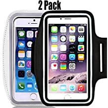 "[2pack] IPhone X /8 / 7 / 6S / 6 / 5S / 5c SPORTS Armband,CaseHQ Case-Great for Running, Workouts or any Fitness Activity,for Stores Cash, Cards and Keys. Fits smartphone 4.5""-5.2"" -Black+Silver"