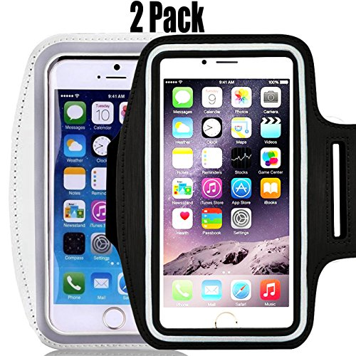 [2pack] IPhone X /8 / 7 / 6S / 6 / 5S / 5c SPORTS Armband,CaseHQ Case-Great for Running, Workouts or any Fitness Activity,for Stores Cash, Cards and Keys. Fits smartphone 4.5