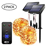 DAOTS Solar Powered String Lights Outdoor Waterproof 200 LEDs Fairy Christmas Lights, Decorative Copper Wire Solar String Lights with Remote 8 Modes for Garden Patio Tree (Warm White, 66ft) (2 Pack)