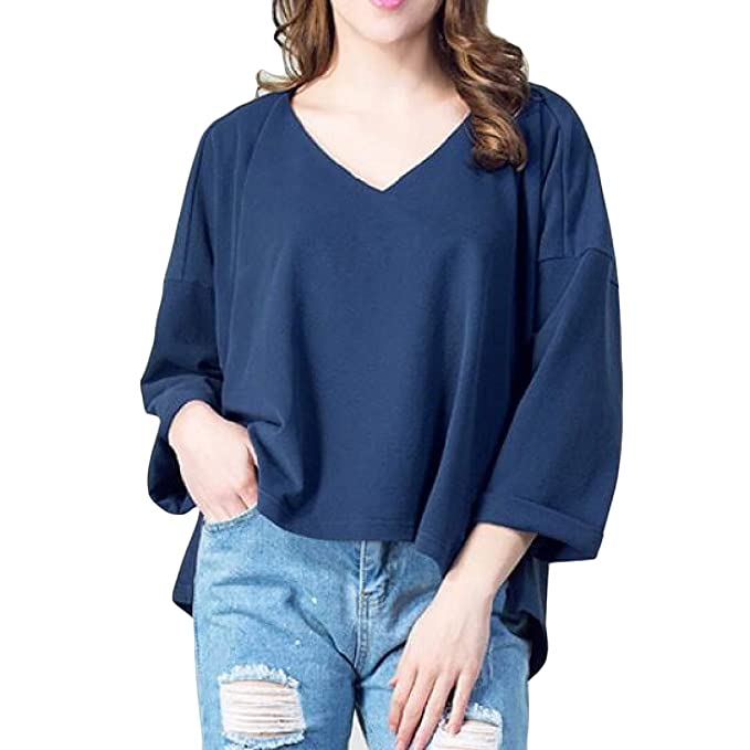 2b1f374df6d Wofupowga Women V Neck Pure Colour 3 4 Sleeve Trendy High-Low Tops T-Shirt  Royal Blue Large at Amazon Women s Clothing store