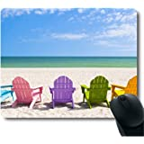 Adirondack Beach Chairs on a Sun Beach Holiday Vacation Travel House Mouse Pad