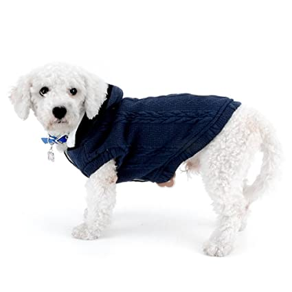 Amazoncom Zunea Classic Small Dog Cat Sweater Coat Jacket Hooded