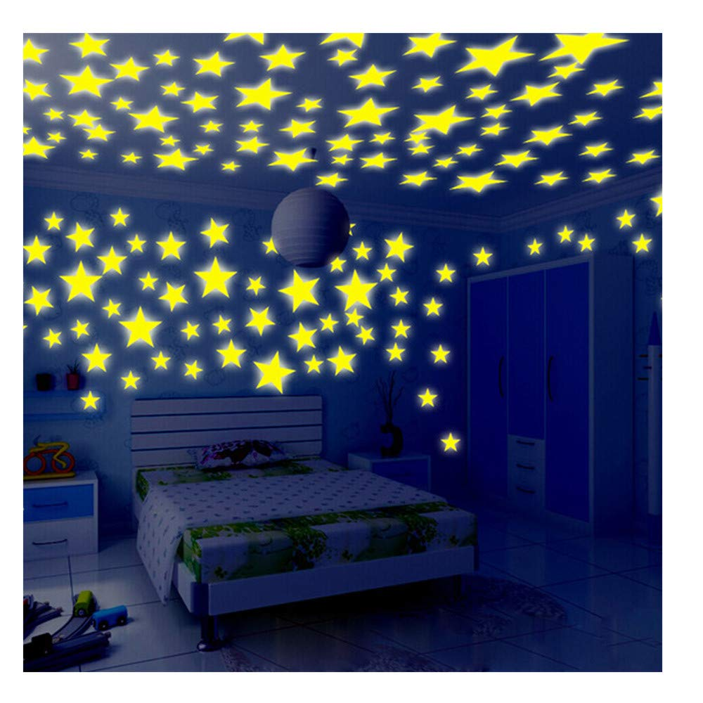 Fluorescent Wall Stickers, Glow In The Dark Stars Bedroom/Living Room Decor For Kids, Pack of 100 (Yellow) Promisen