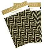 Inspired Mailers Poly Mailers 10x13 Black and Gold Chevron – Pack of 100 – Unpadded Shipping Bags