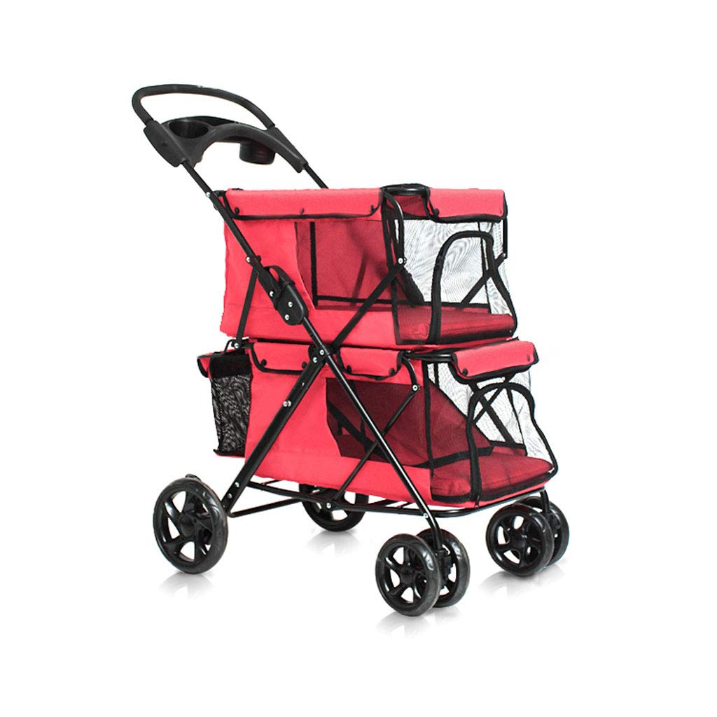 Red DUHUI Puppy Cat Pet Travel Stroller Pet Trolley Pushchair Rear Brakes Maximum Load 20kg (color   RED)