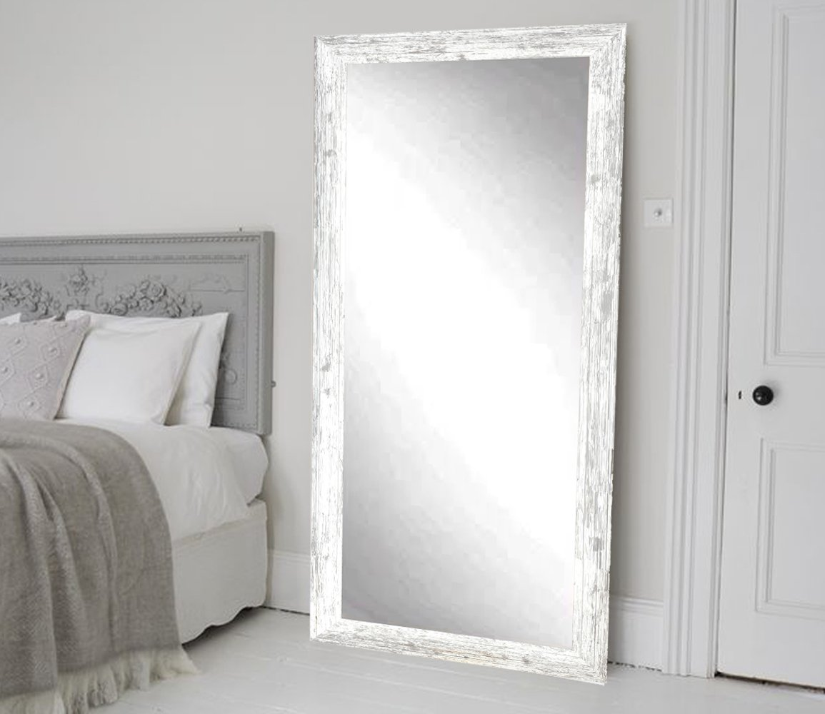 BrandtWorks Barn Wood Full Length Floor Vanity Wall Mirror, 32 x 71, Heavy Distressed White/Gray