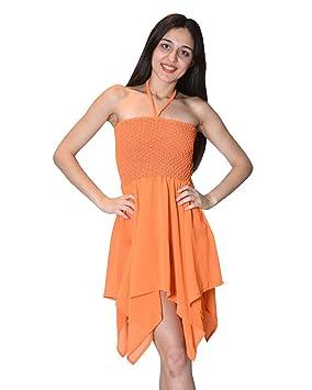 Bayside Barcelona Vestido de tubo de color sólido naranja sexy playa halter vestido