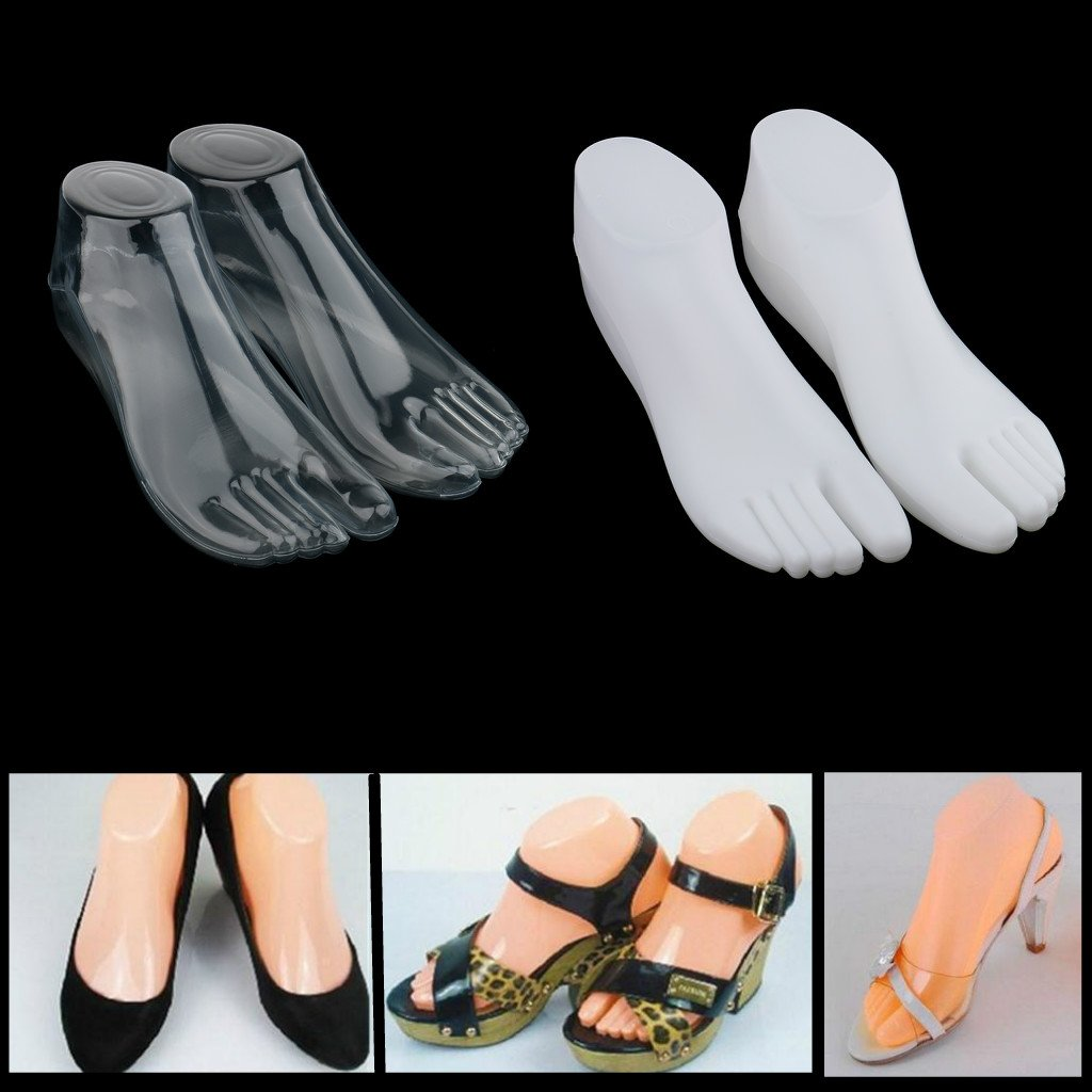 Clear Homyl 1Pair Retail Stores Showcase Female Feet Mannequin Foot Thong Style Sandal Sock Display Model Holder Tool Right Left Foot