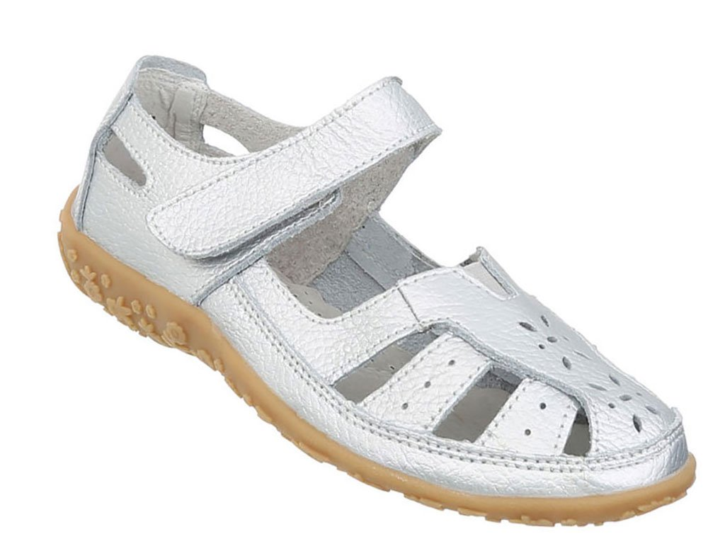 Damen Schuhe Sandalen Leder Klettverschluszlig;42 EU|Silber
