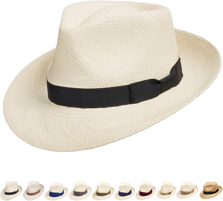 f8cbb1997edc78 Ultrafino Genuine Havana Retro Panama Straw Hat Classic Lightweight 6 3/4