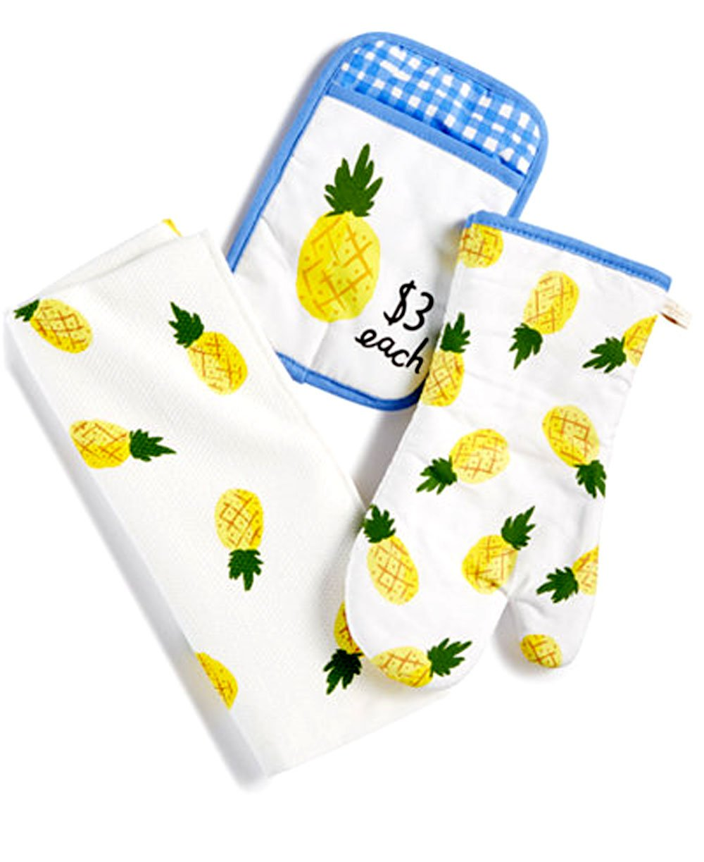 Kate Spade 3 Piece Pineapple Kitchen Towel Set