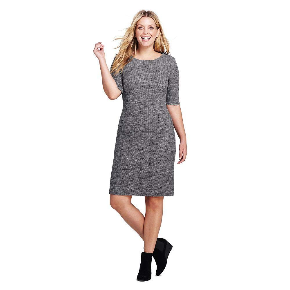 Lands\' End Women\'s Plus Size Ponte Knit Sheath Print Dress with ...