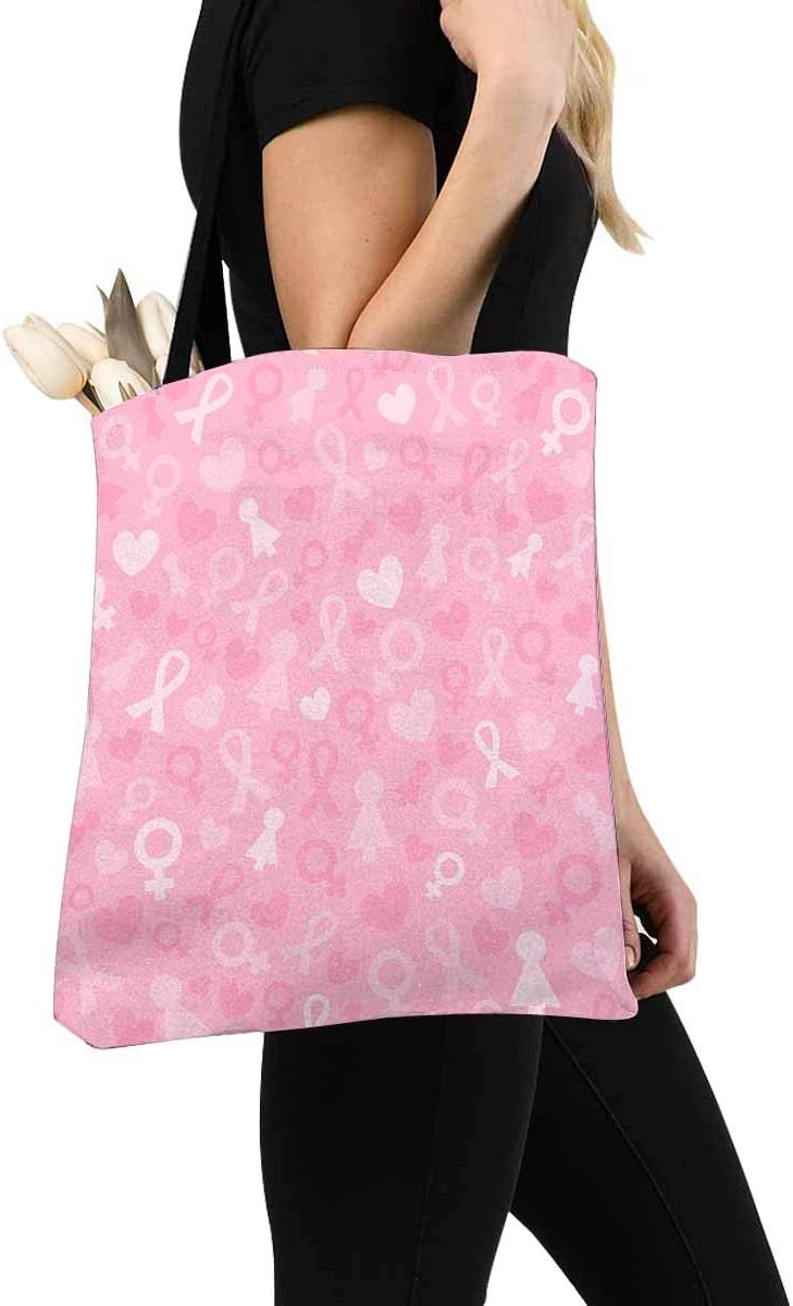 Breast Cancer Awareness Reusable Canvas Tote Bag BE007 Rhinestone FIGHT Ribbon