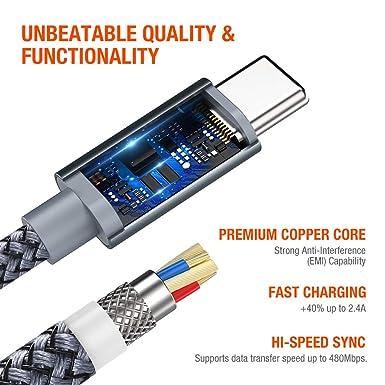 Amazon.com: Snowkids - Cable USB tipo C, cargador USB C (2 ...