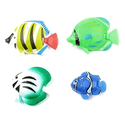 4pcs Surtido Color Plástico Columpio Cola Peces Decoración para Acuario
