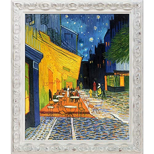 La Pastiche VG415-FR-55036020X24 Cafe Terrace at Night with Brimfield Cottage White Framed Hand Painted Oil Reproduction, 20X24, Multi