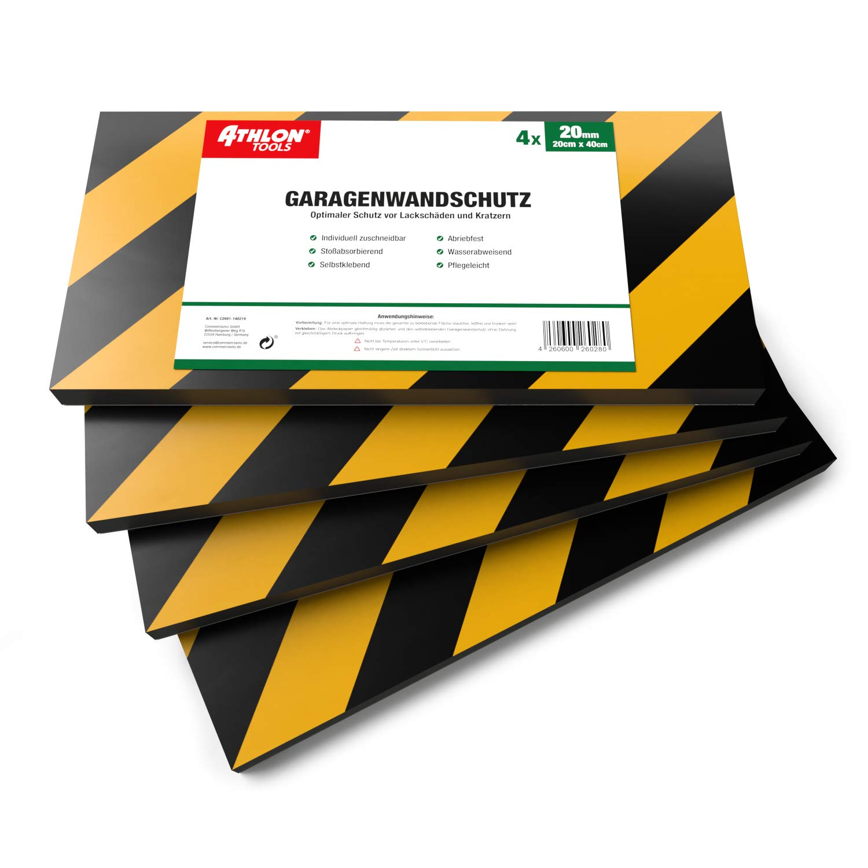 ATHLON TOOLS 4 x MaxProtect Premium Garaje de pared Protecci/ón autoadhesiva de 40 x 20 x 2,0 cm Protecci/ón contra impactos Protecci/ón para puerta de garaje acolchado Protecci/ón para puerta