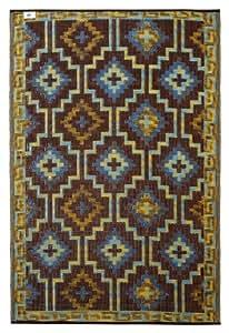 Fab Hab - Lhasa - Alfombra para Exterior e Interior - Azul Real y Chocolate - (120 cm x 180 cm)