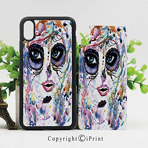 Case for iPhone X,Halloween Girl with Sugar Skull Makeup Watercolor Painting Style Creepy Decorative Shockproof Sleek Design Anti-Scratch Anti-Slip Hard Protective Cases Cover for iPhone X (5.8 inch) -