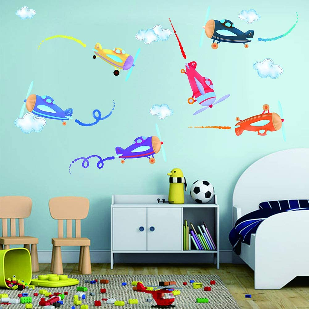 Colourful Aircrafts Jet Plane Wall Decals - Airplane Fighter Jet Copter Show Wall Sticker - Aviation Gift Boys Kids Nursery Wall Decal Stickers Home Decor