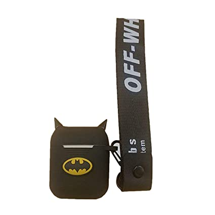 detailed look 125c4 27da5 for Airpods Charging Case Silicone Shock Dust-Proof Proof Protective Case  Batman Cute case and Hanging Strap - Soft Silicone Headphone Case Earphone  ...