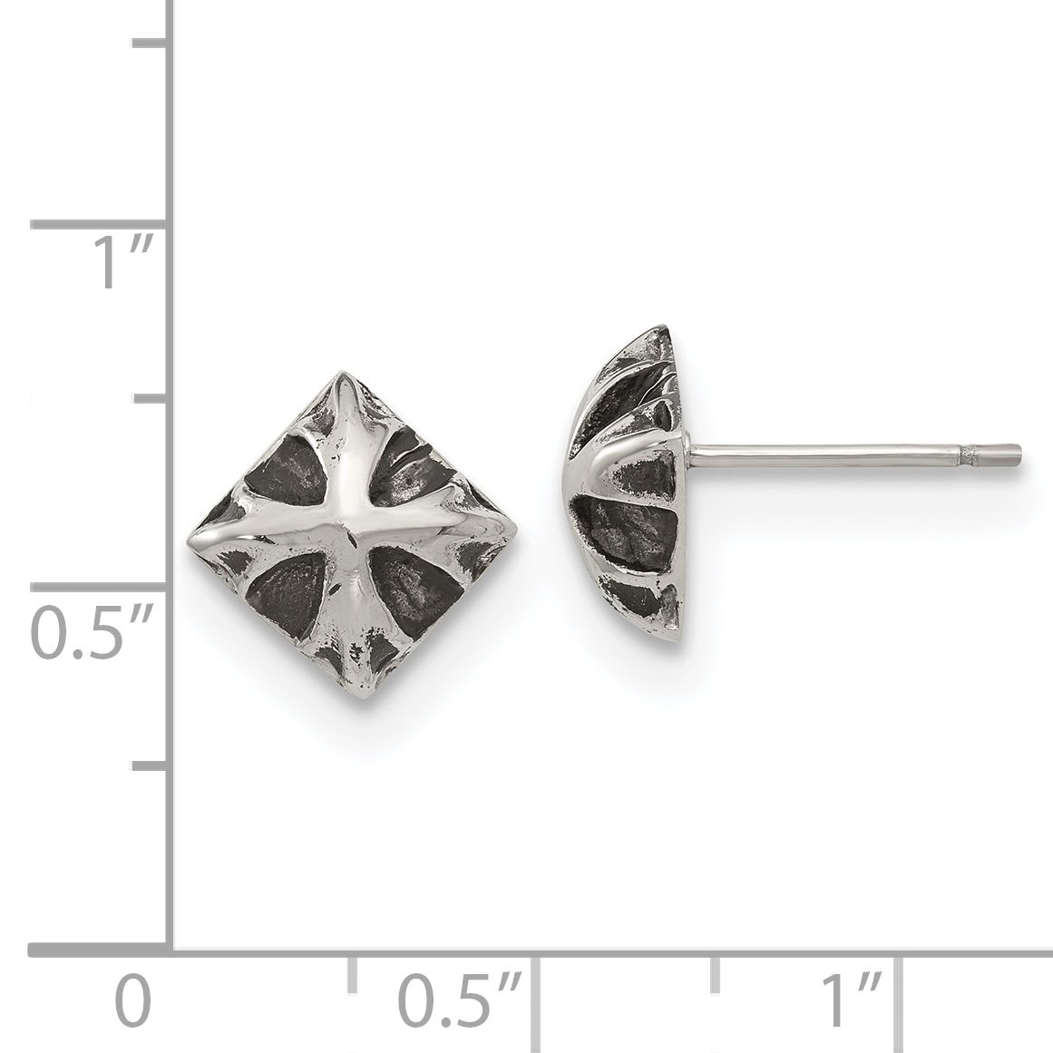 Stainless Steel Antiqued and Polished Post Earrings